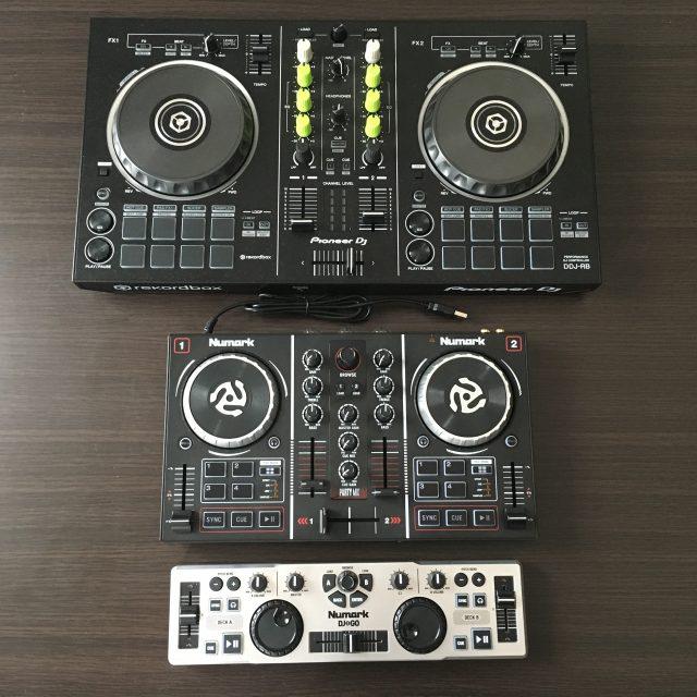 DDJ-RB、PARTYMIX、DJ2GOの順に並べてみた。意外に小さい。